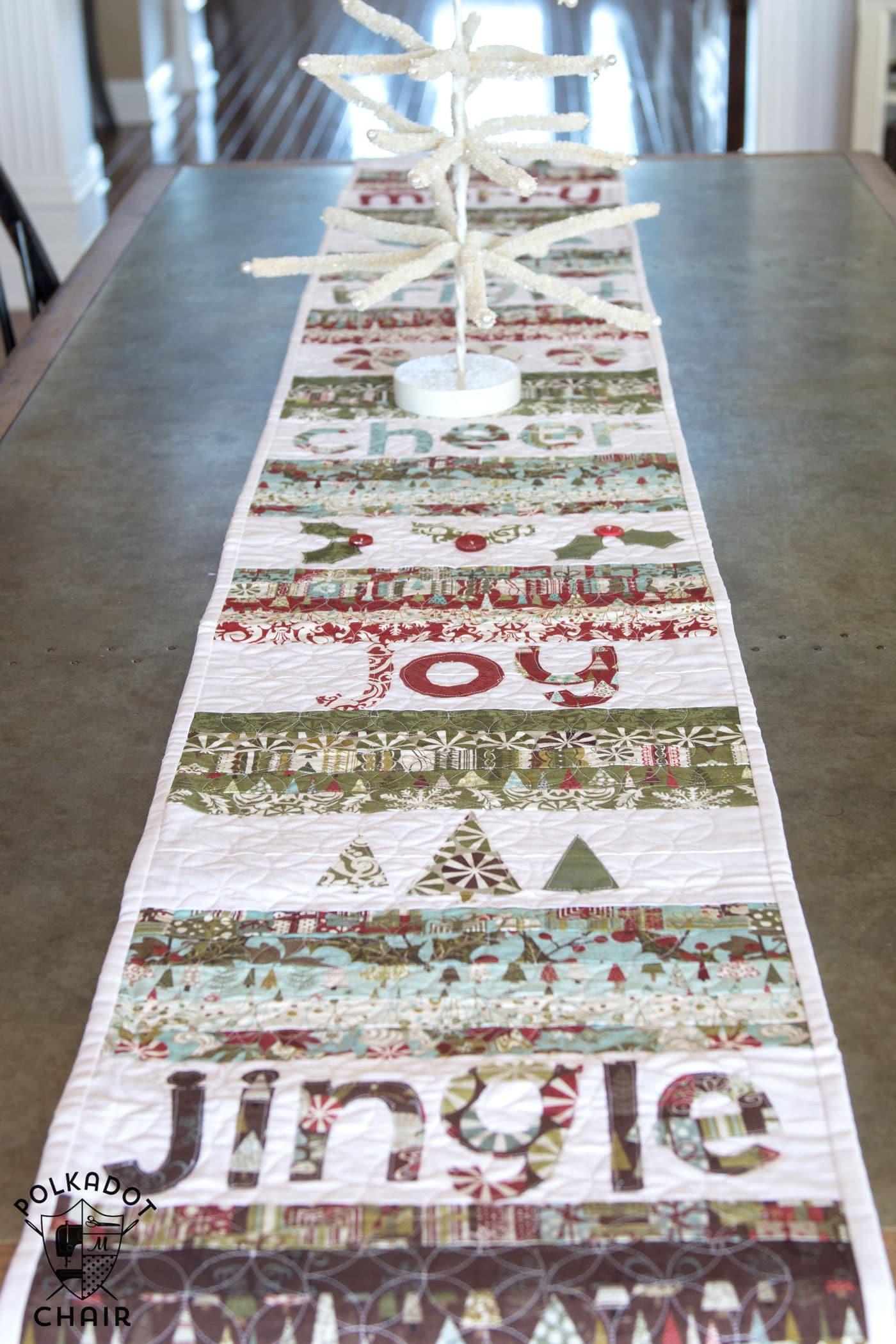 Free Pattern Christmas Quilt Table Runner : Merry & Cheer Quilted Christmas Table Runner Pattern - The Polka Dot Chair