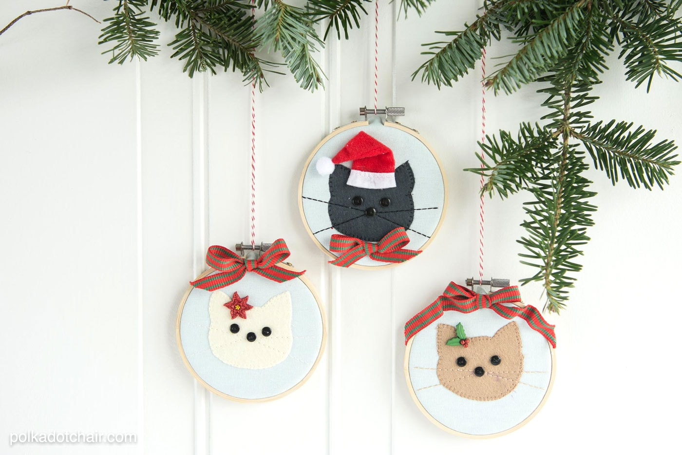 Cat Embroidery Hoop Christmas Ornaments - The Polka Dot Chair