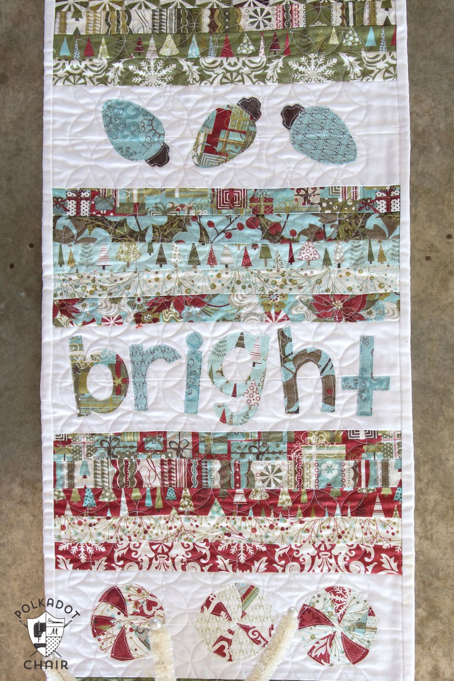 Merry & Cheer Quilted Christmas Table Runner Pattern - The Polka Dot ...