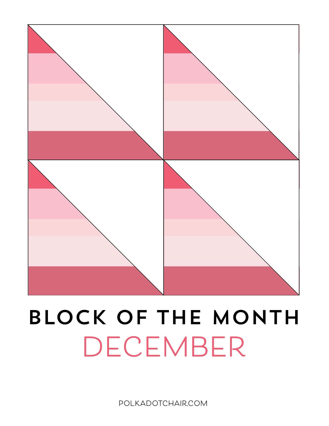 Instructions for the December Block of the Month; a String Half Square Triangle Quilt block on polkadotchair.com - it's free!