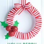 Holly Berry DIY Ribbon Christmas Wreath