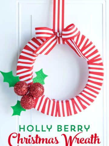 DIY Holly Berry Christmas Wreath made with ribbon, styrofoam balls, felt and glitter