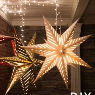 How to hang Star Luminaires on your front porch- what a clever idea for decorating your porch for Christmas