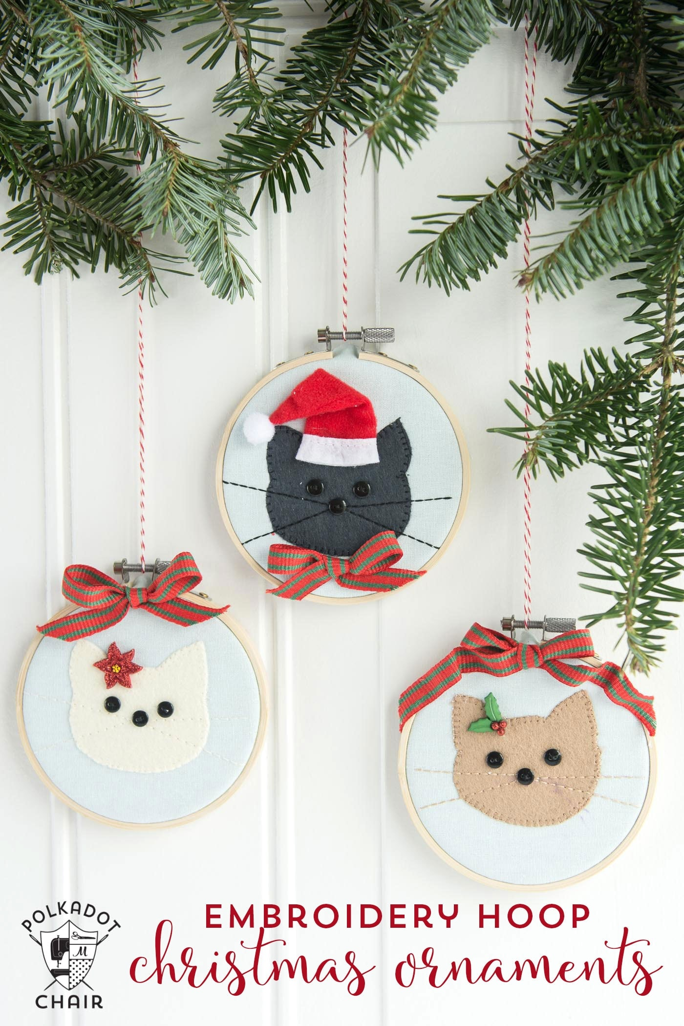 Polka dot christmas ornaments - Diy Cat Embroidery Hoop Christmas Ornaments With Instructions And Free Sewing Pattern On Polkadotchair Com