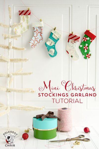 Mini Christmas Stocking Garland Sewing tutorial by Melissa of polkadotchair.com