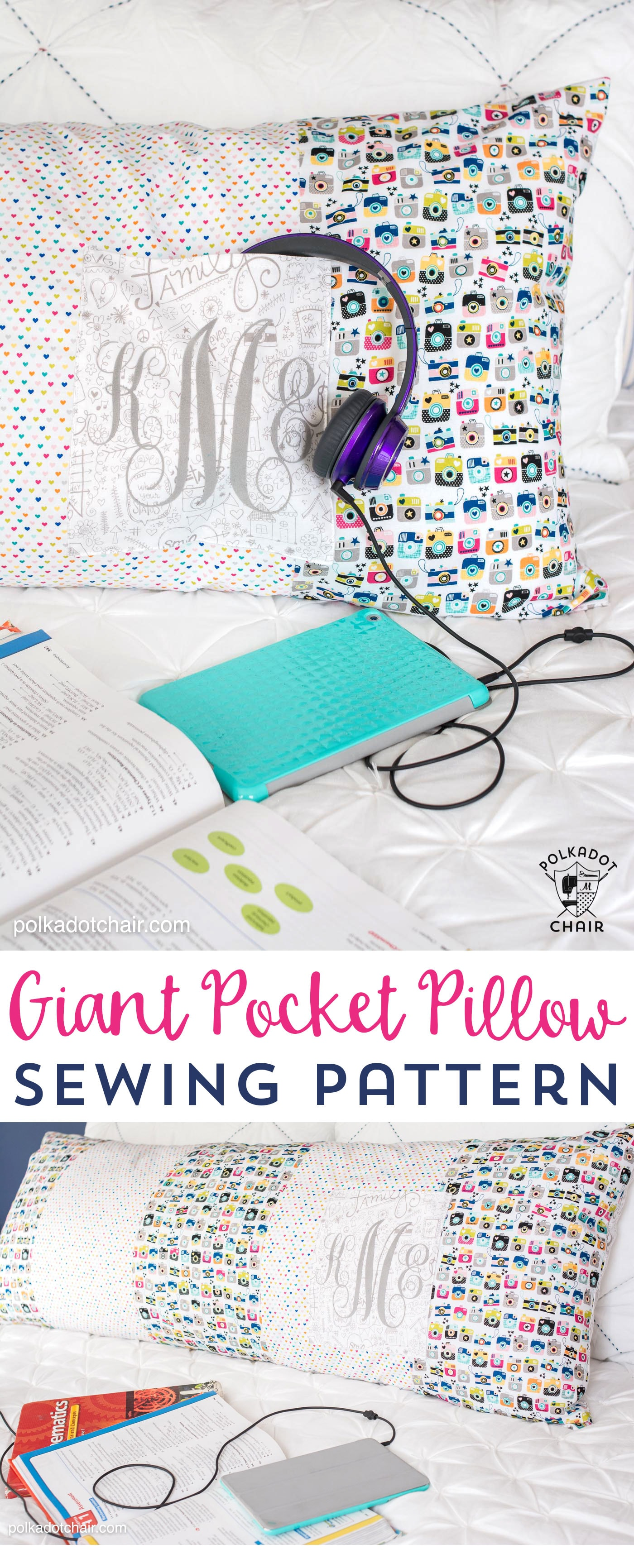 Free sewing pattern for a giant pocket pillow (fits on a standard body pillow form)