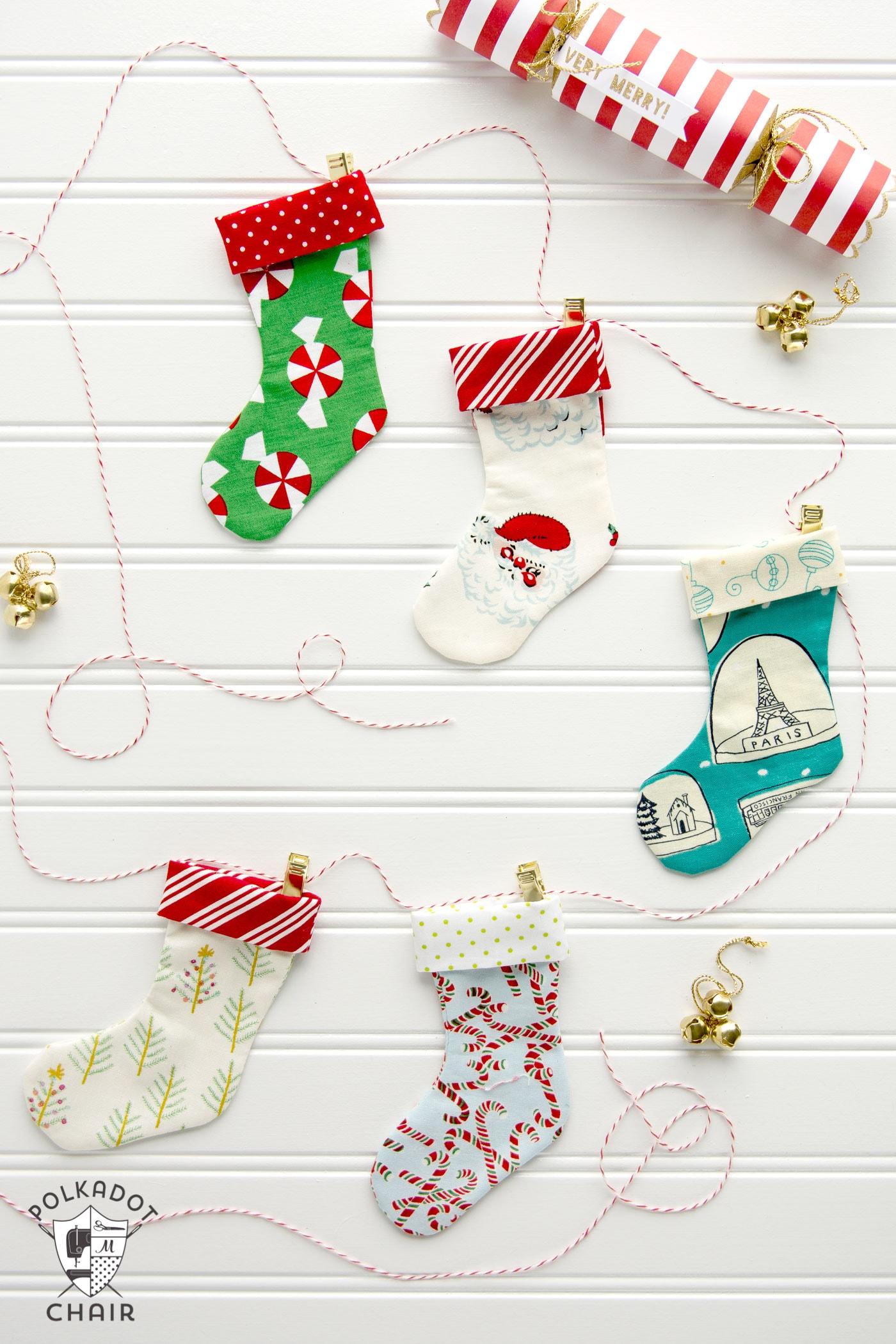 Mini christmas stocking garland tutorial the polka dot chair