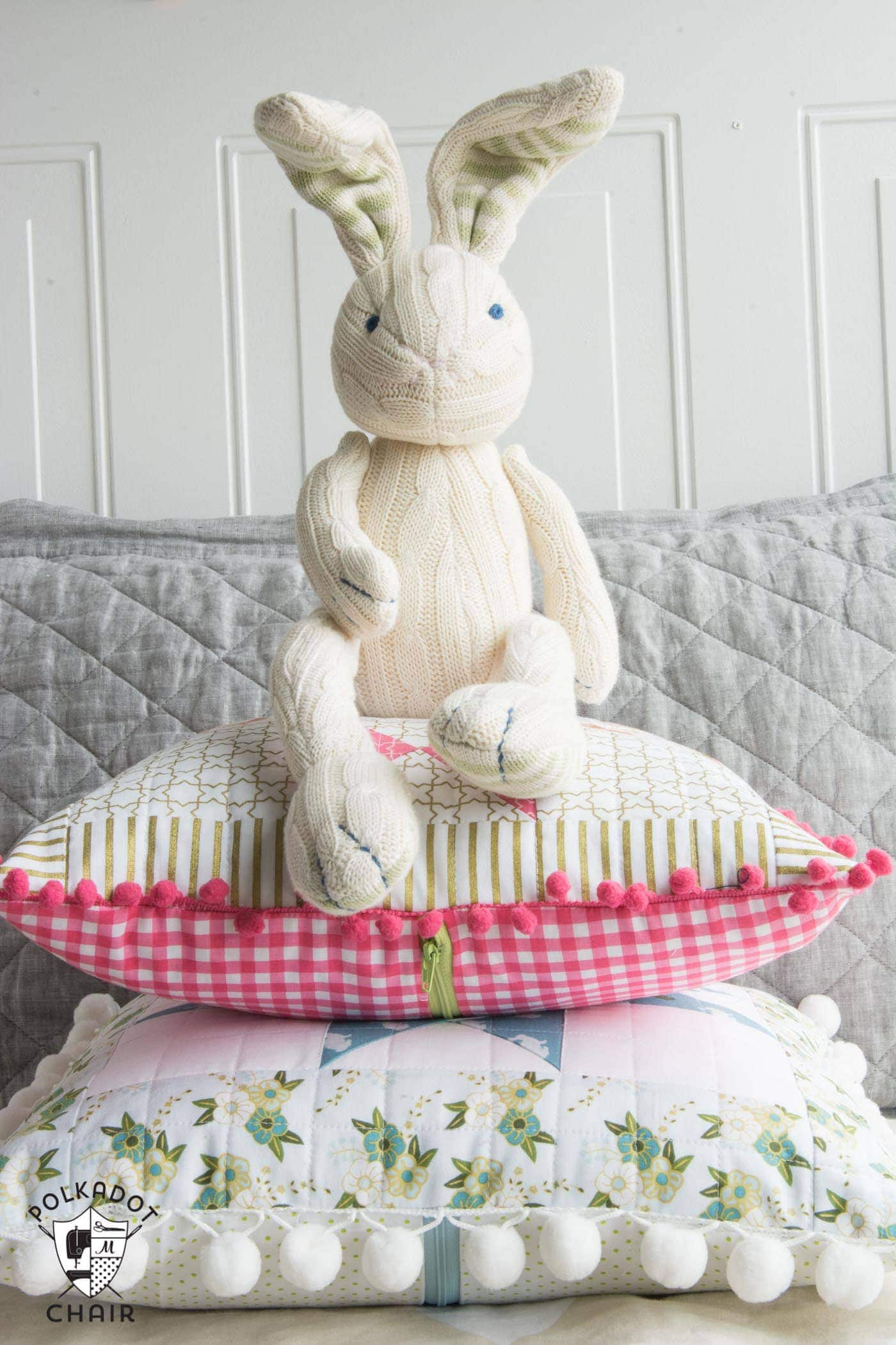Cute Pom Pom Quilted Pillows made from Wonderland Fabric from Riley Blake Designs