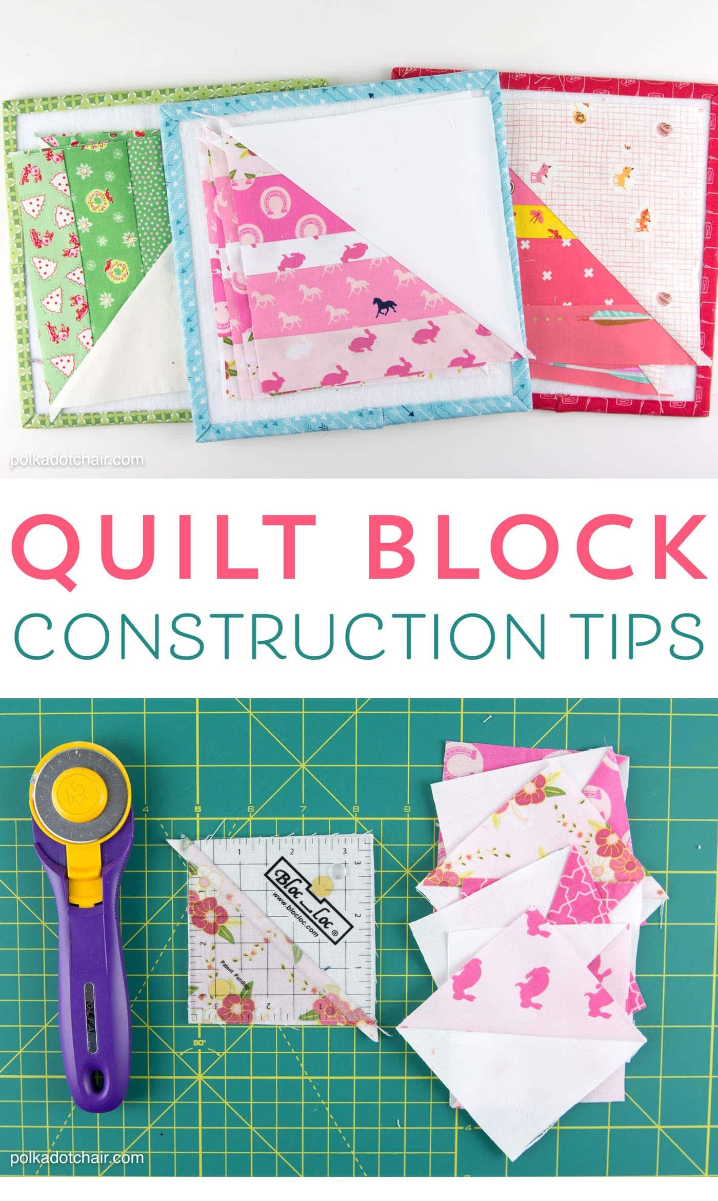 Tips and tricks to help you when you're constructing quilt blocks. Things like how to stay organized and how to trim HST blocks accurately.