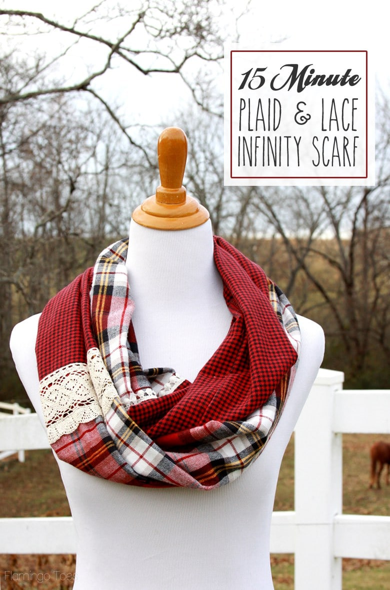 15 Minute Plaid and Lace Infinity Scarf Sewing Tutorial