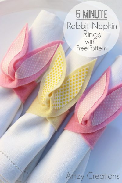 Easter Bunny Napkin Rings by Artzy Creations