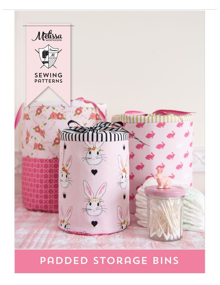 Sewing Pattern for Padded Storage Bins in 3 sizes. Make great and really cute storage for a nursery, kids room or craft room.