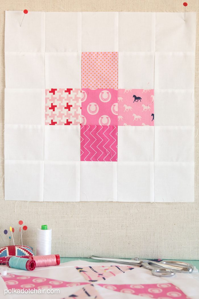 Free pattern for a plus quilt block on polkadotchair.com