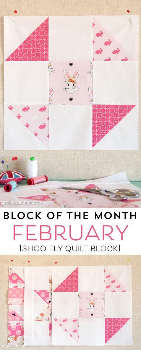 The February Block of the Month on polkadotchair.com - A free pattern for a Shoo Fly Quilt Block