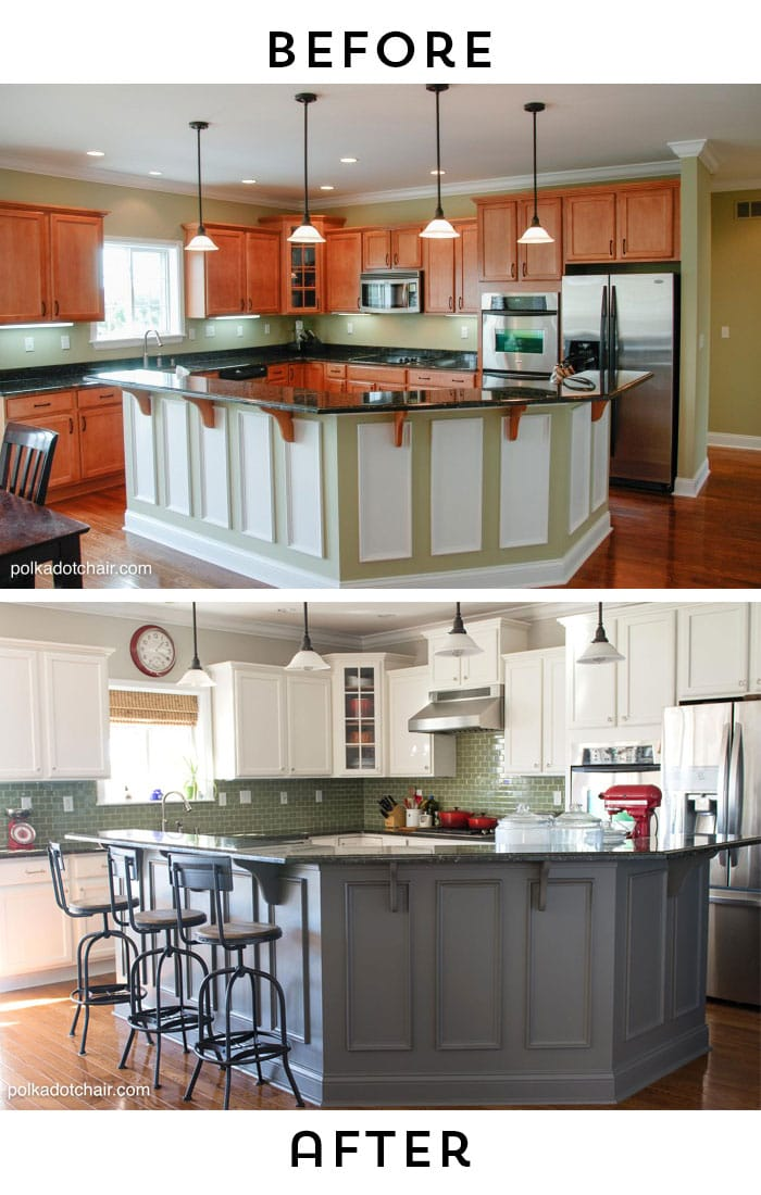 Before And After Photos Of A Kitchen That Had It S Cabinets Painted White Lots