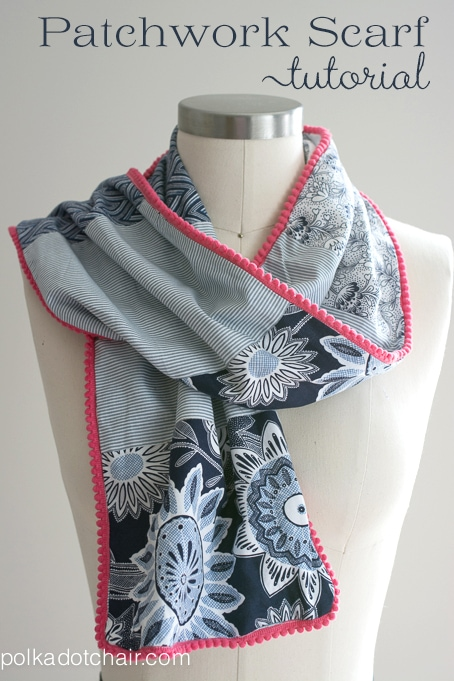 DIY Patchwork and Pom Pom Scarf Sewing Tutorial