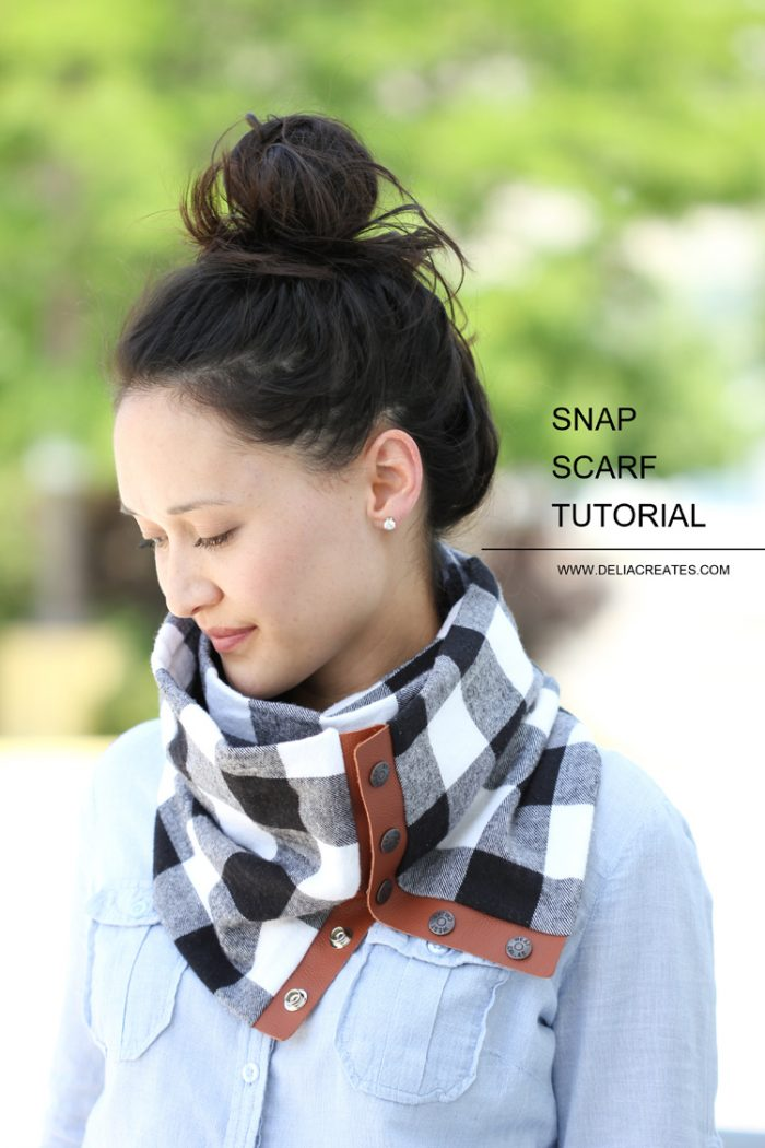 Snap Up Scarf Sewing pattern - love the touch of leather!