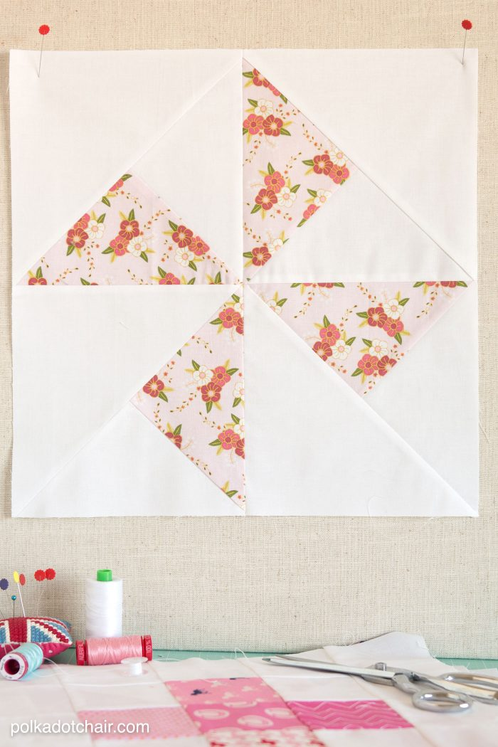 Free pattern for a Turnstile Quilt Block on polkadotchair.com