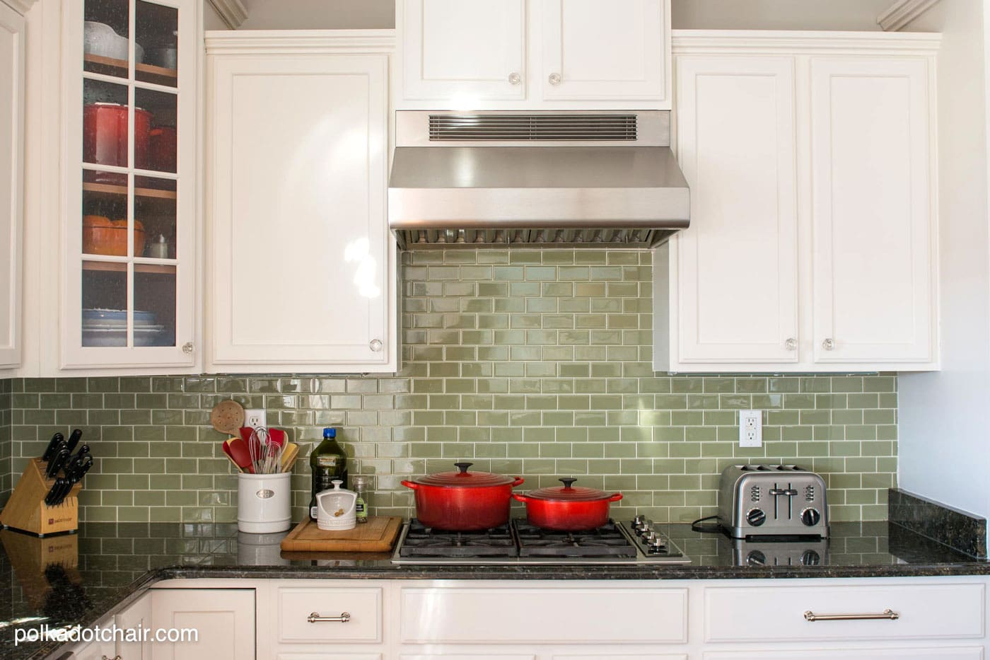 Green Tile Backsplash & Before and After Photos of a Kitchen that had it's Cabinets Painted White- lots of great ideas for decorating a farmhouse style kitchen!