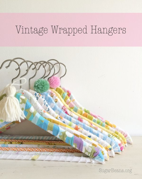 DIY Vintage Sheet Wrapped Hangers