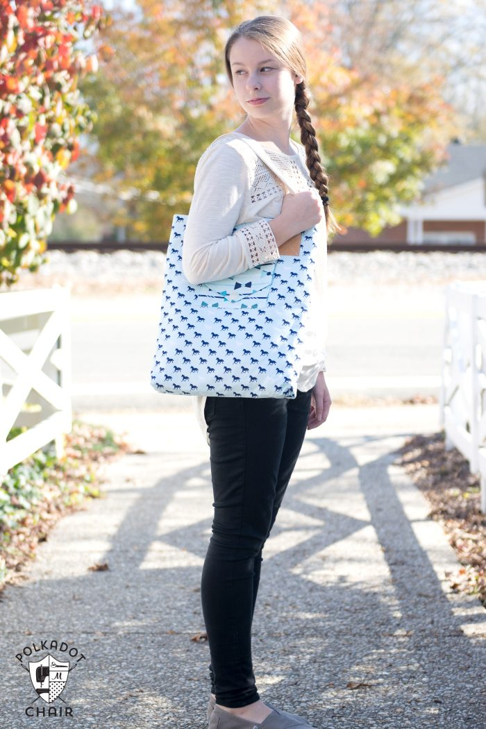 The Derby Tote Bag Sewing Pattern; great simple and versatile tote bag pattern that features 3 different front pocket styles. Great project for a beginning sewist.