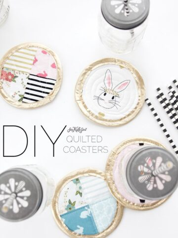 Quilted Coaster Tutorial from See Kate Sew, perfect for Easter or as a party favor! Uses Wonderland Fabric