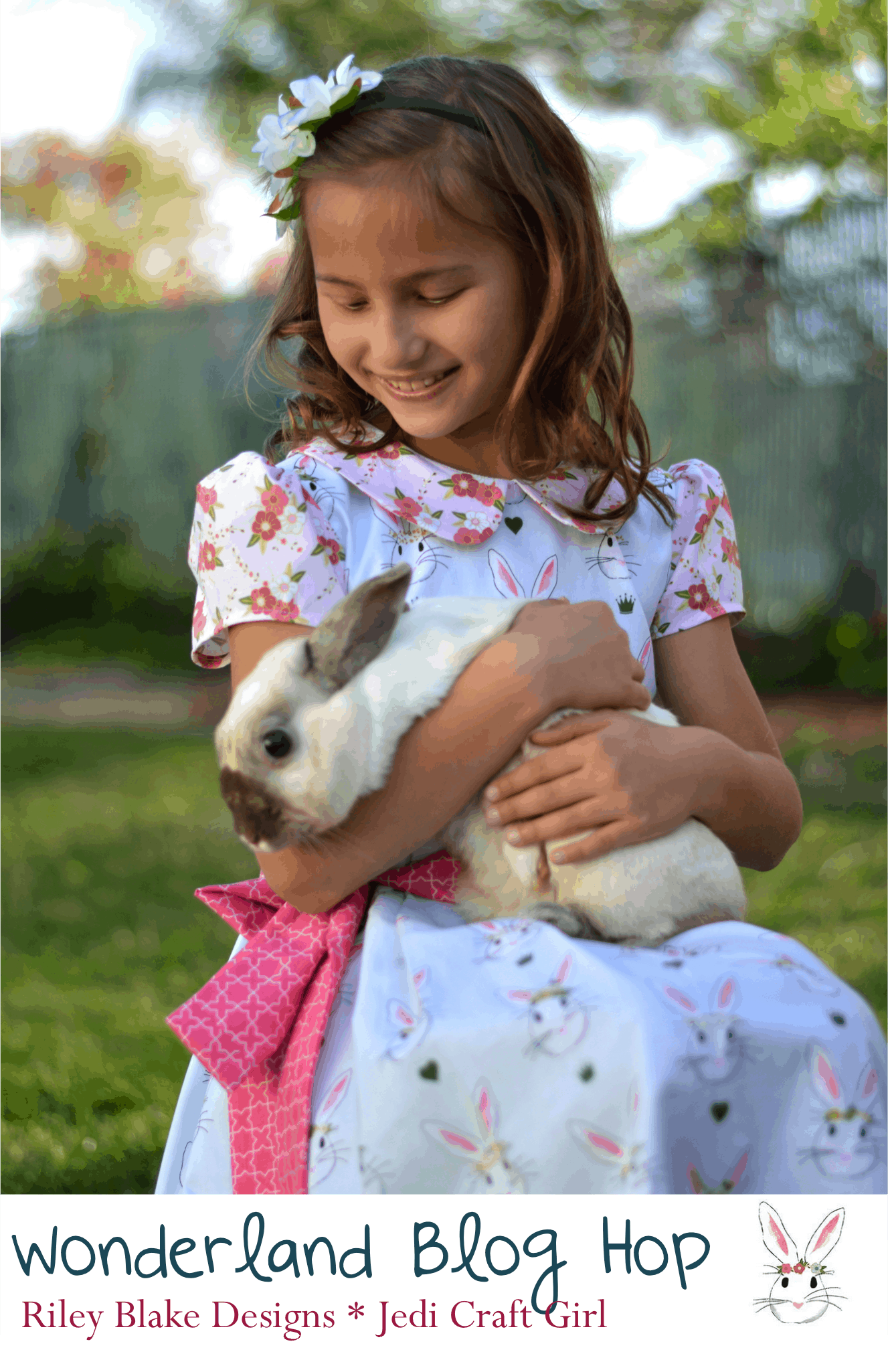 Cute Easter Dress made from Simplicity 1211 sewn in Wonderland Fabric