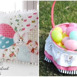 Sewing patterns for a ruffled easter basket liner and spring wonderland pillow