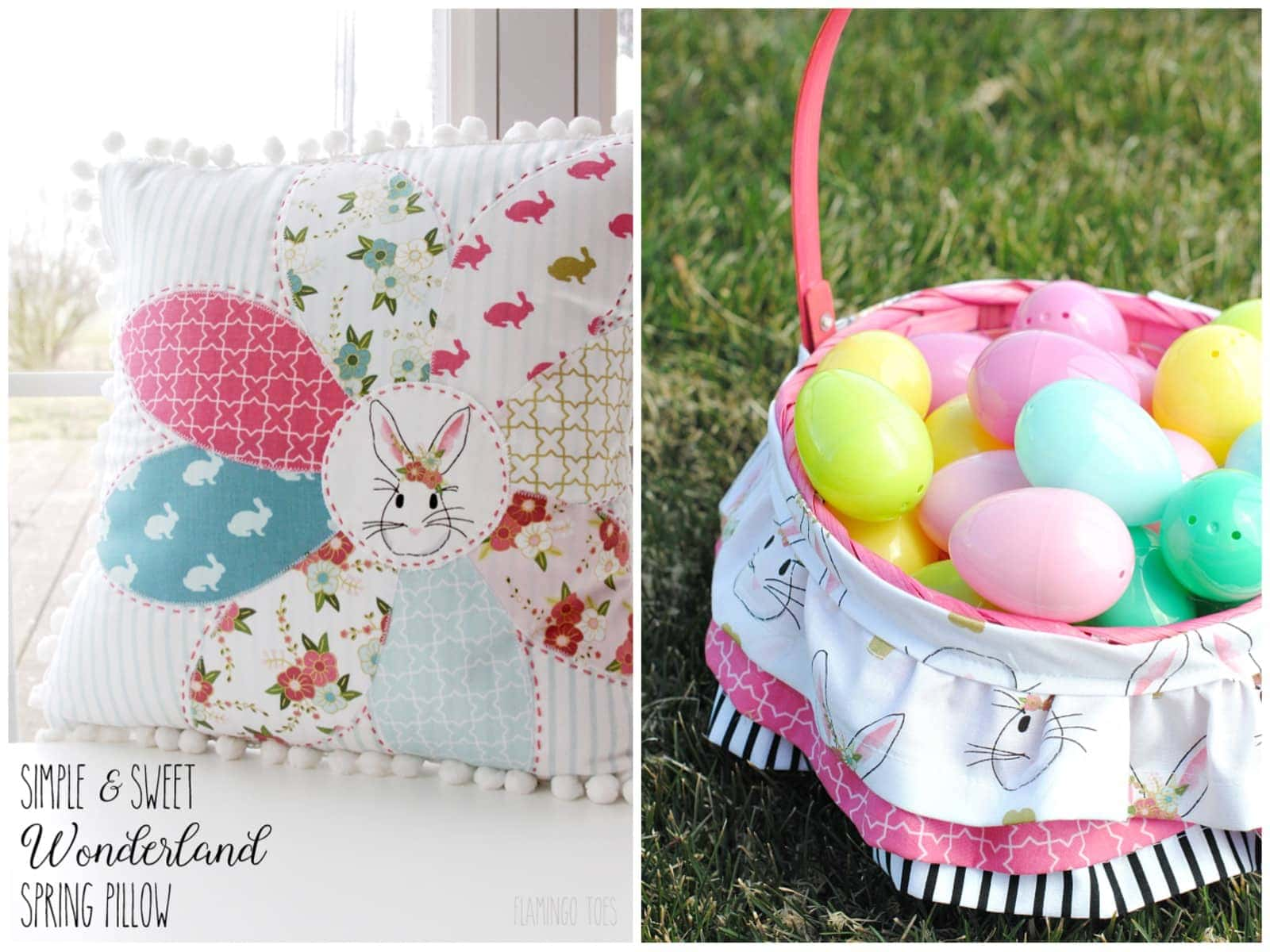 Ruffled Easter Basket Liner Pattern & Spring Pillow Sewing Pattern