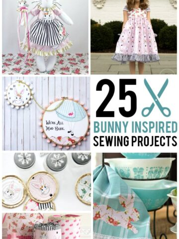 """More than 25 Bunny """"Inspired"""" Sewing Projects using Wonderland Fabric ; cute girls dress ideas, tote bags, bunny softie patterns and more!"""