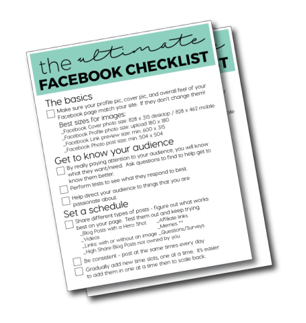 Ultimate Facebook Checklist- great resource for business Facebook Pages