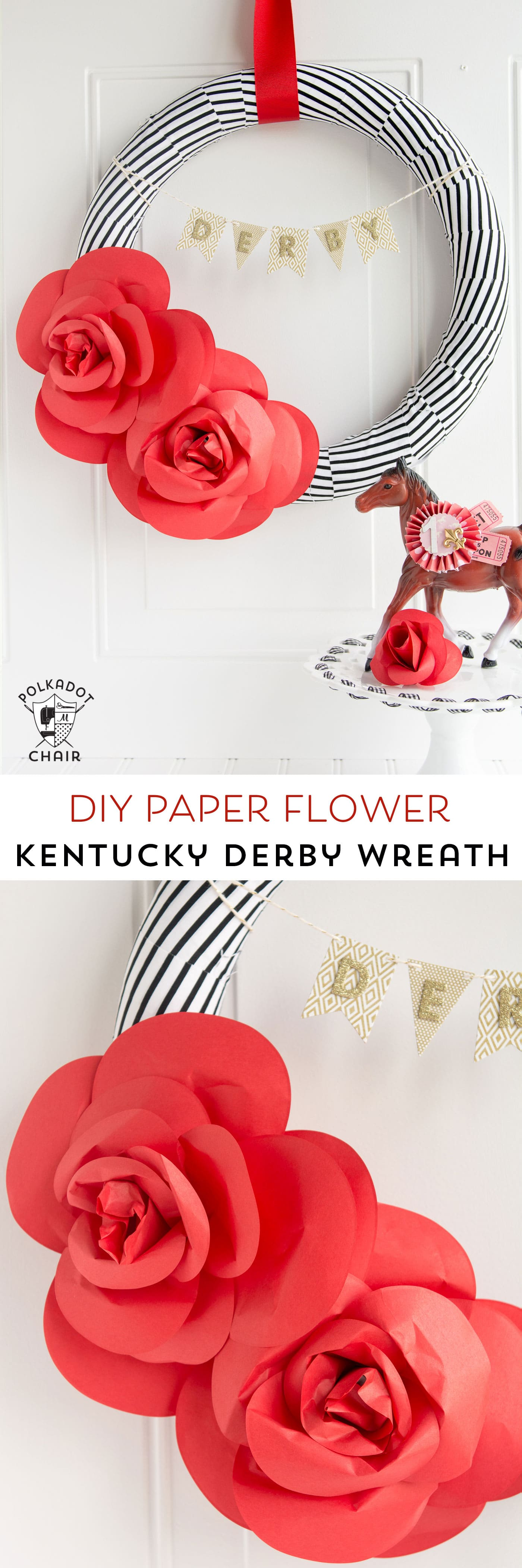DIY Paper Flower Wreath Tutorial decorated for the Kentucky Derby; lots of cute ideas for Derby Decorations and Derby Parties on this site too!