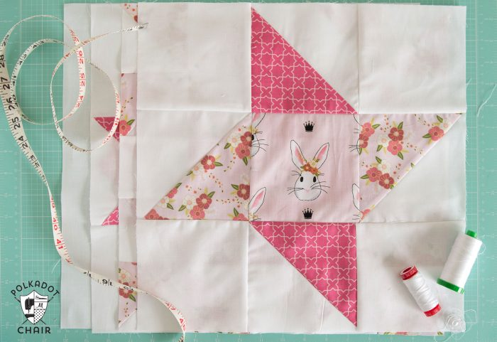 The May Block of the Month in the Polka Dot Chair Quilt Block series, a free tutorial to make a Friendship Star Quilt Block