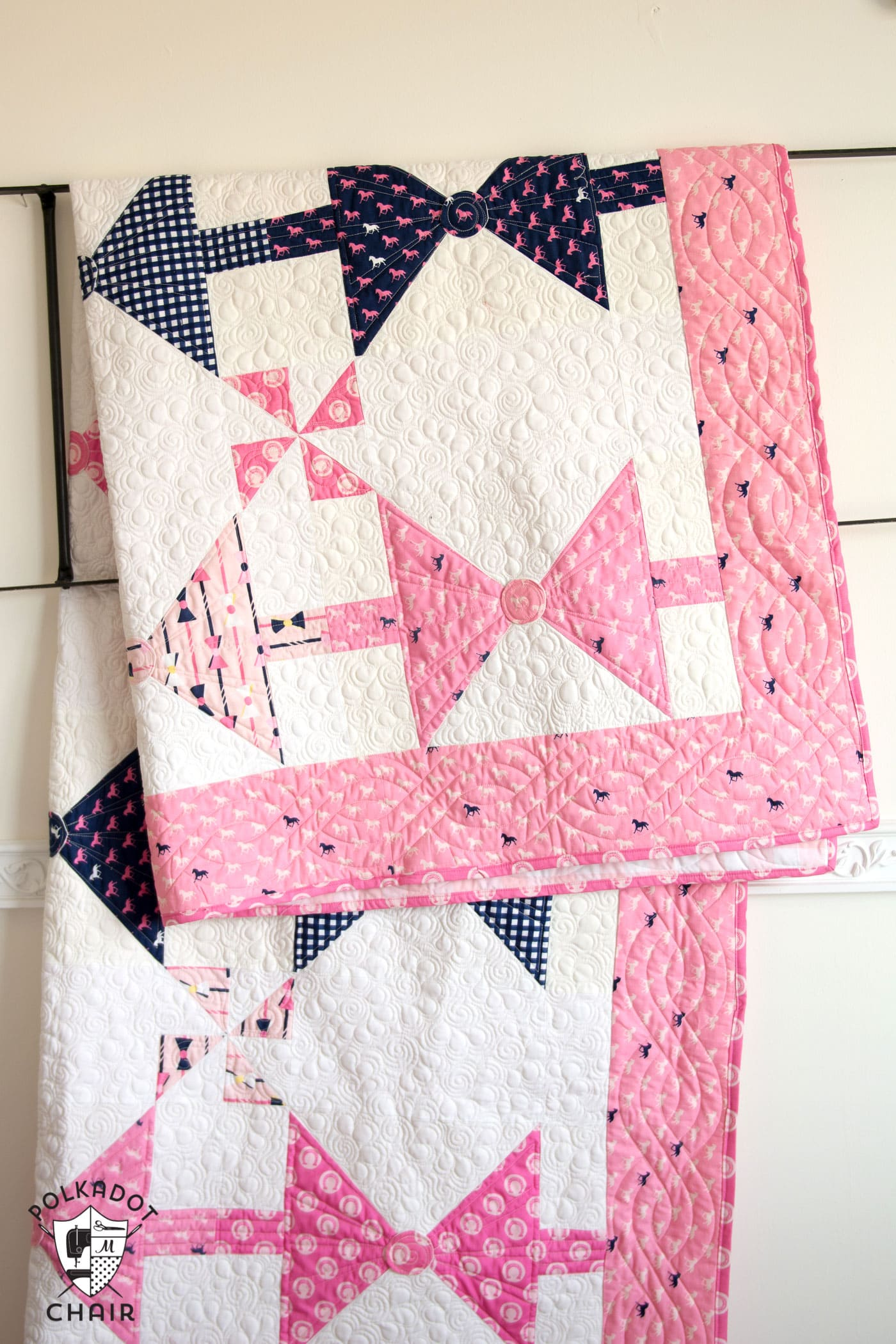 Dad's Bow Tie Quilt pattern; available in both twin or baby quilt size. Great quilt project for a beginning or intermediate quilter