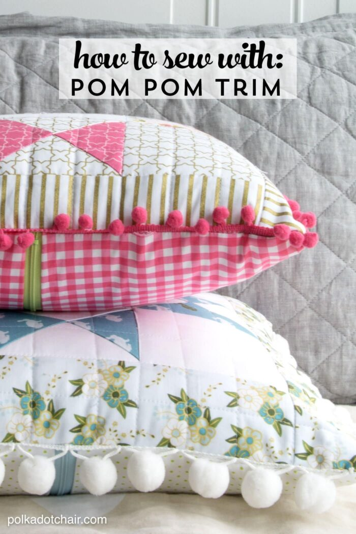 Learn tips and trick to make it easy to sew with pom pom trim or fringe. Like how to add pom pom fringe to a pillow