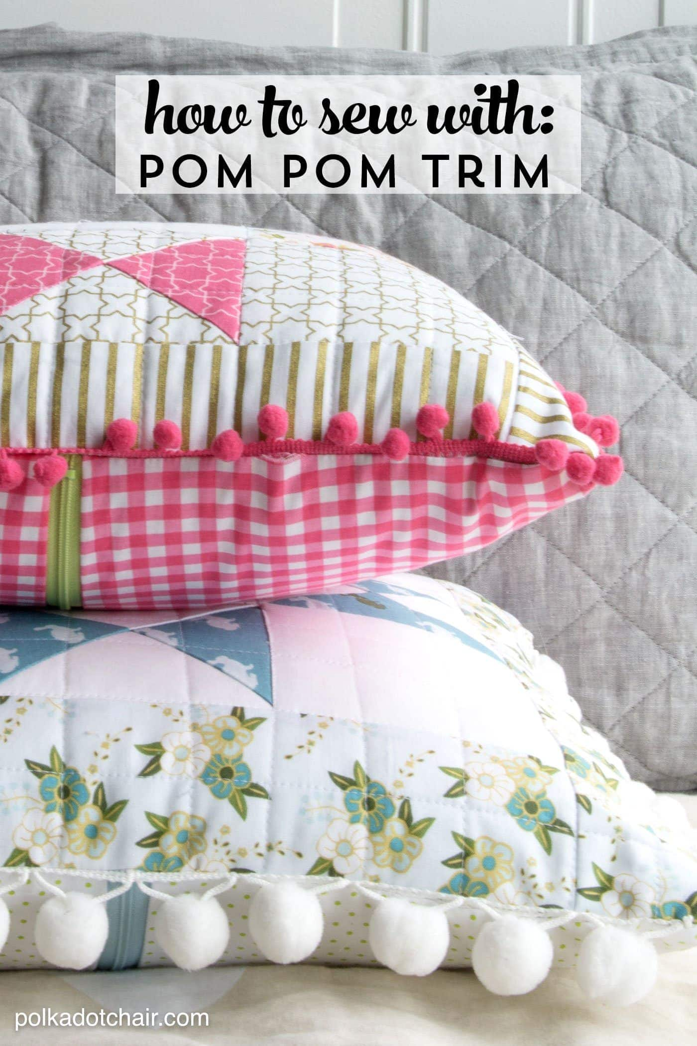 Tips and tricks to make it easy for you to learn how to sew pom pom trim or fringe. Like how to add pom pom fringe to a pillow