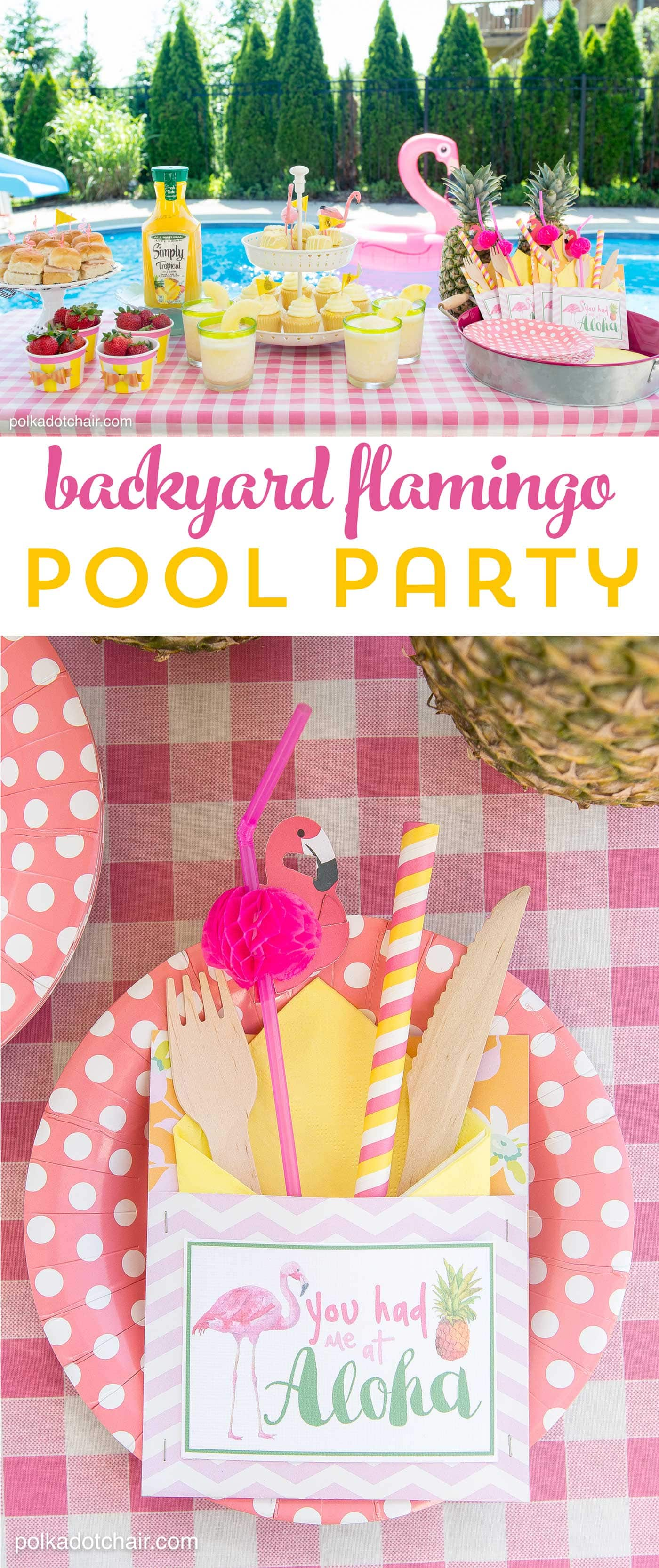 Lots of fun ideas to throw a backyard flamingo themed pool party, including free printable silverware containers and a recipe for pineapple and mango virgin pina coladas