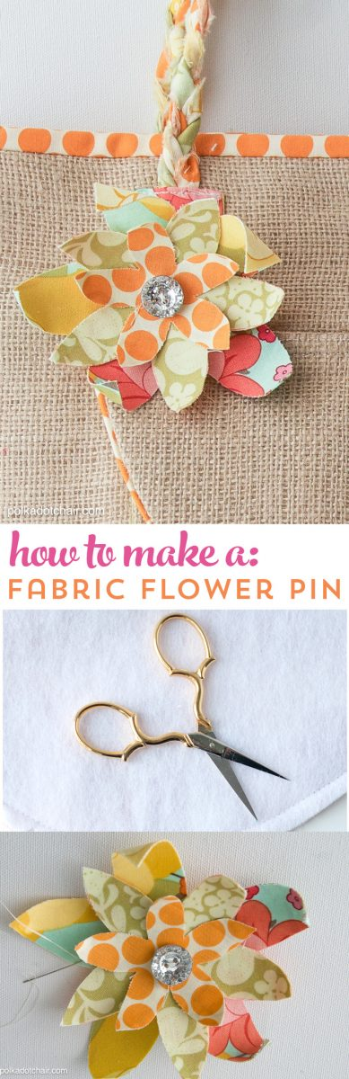 Learn how to make a fabric flower pin or brooch. Makes a cute addition to a handbag or other sewing project.