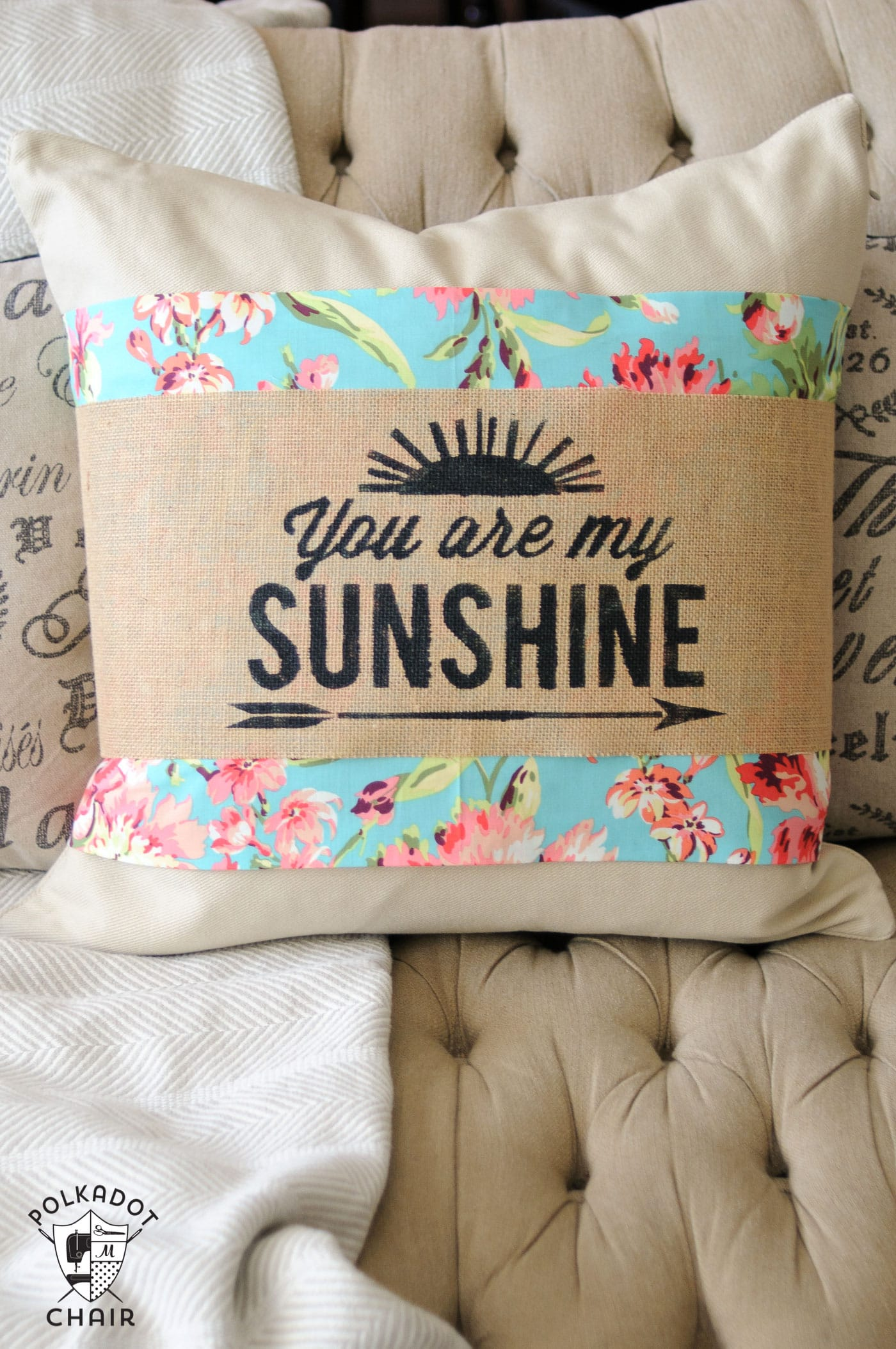 """DIY Stenciled Burlap Pillow Sleeve Tutorial; with free """"You are My Sunshine"""" cut file for the Cricut or Silhouette"""