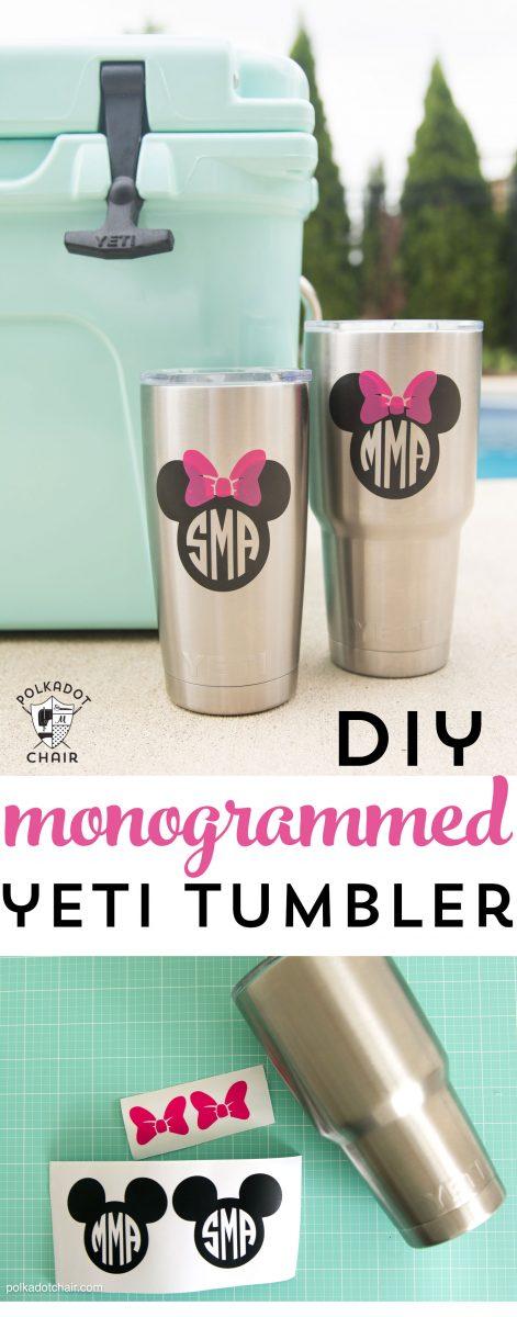 How To Diy Disney Monogram For A Yeti Tumbler The Polka