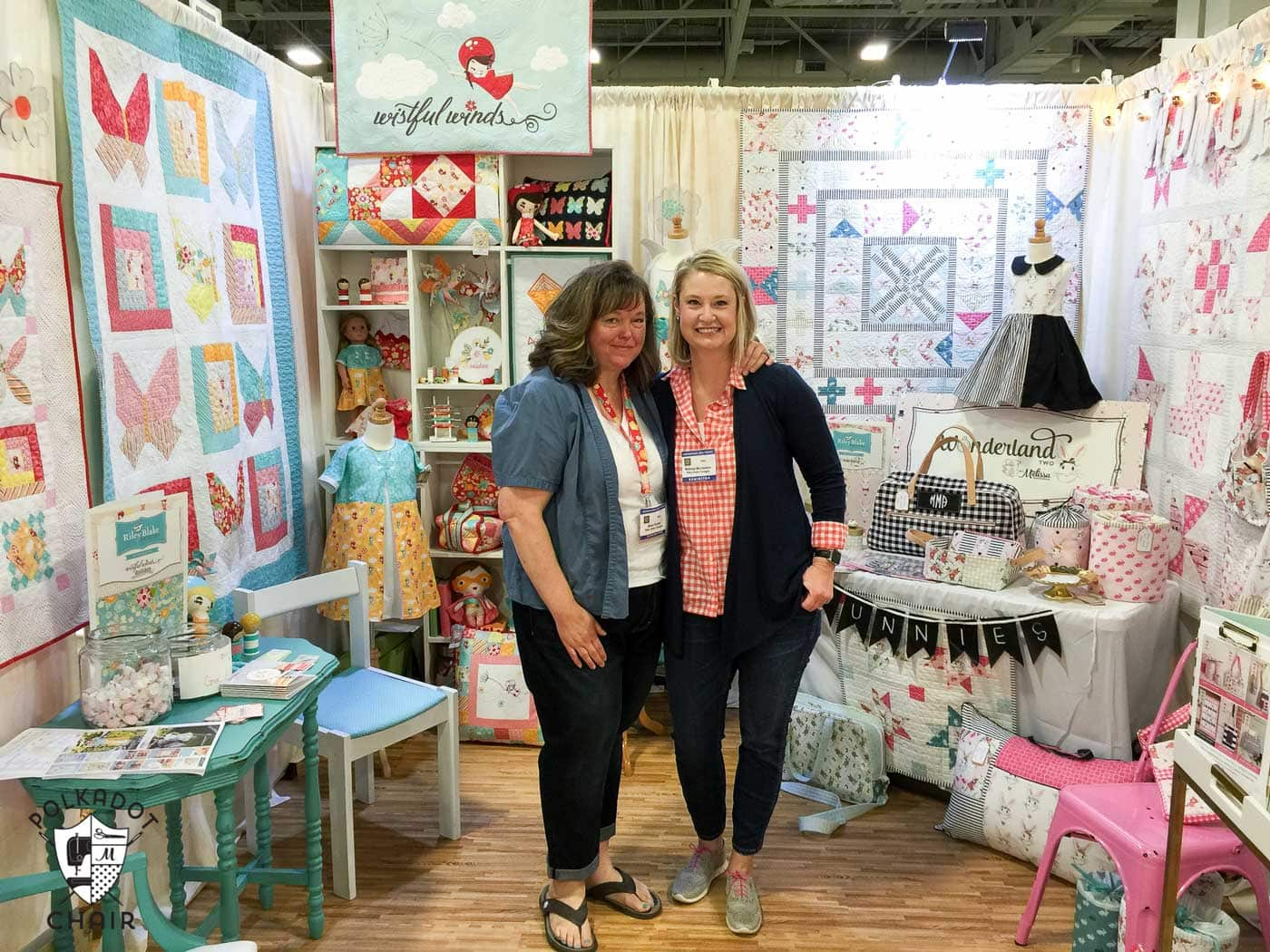 Photos from the Riley Blake booth at Spring Quilt market, lots of cute sewing and quilting projects using Wonderland Fabric
