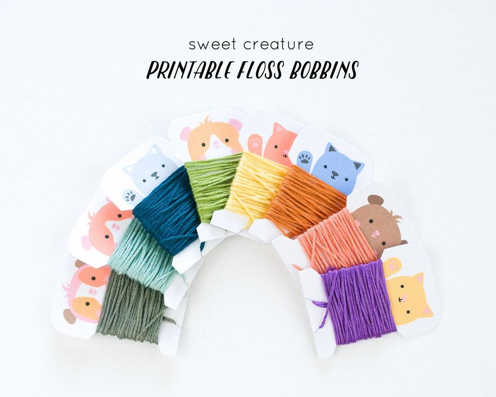 Free printable floss bobbins