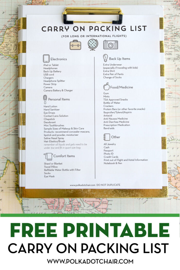Airplane Travel Tips Free Printable Packing List The Polka Dot Chair