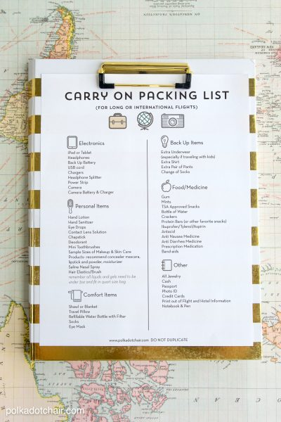 Tips for surviving long airline flights, along with a free printable airplane carry on packing list