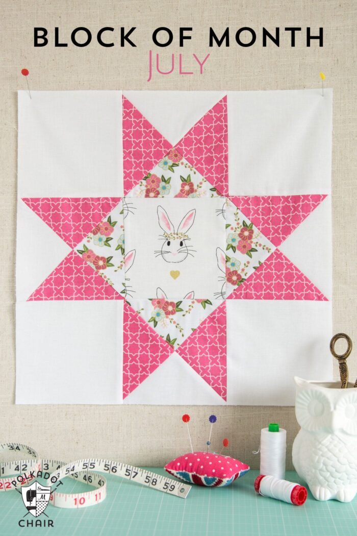 The July Quilt Block of the Month; the Ohio Star Quilt Block, includes full measurements and directions to make the block.