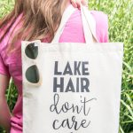 DIY Stenciled Tote Bag; Lake Hair Don't Care