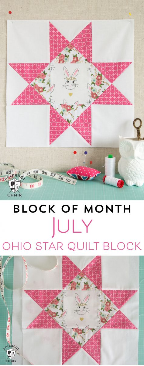 July Block Of The Month Ohio Star Quilt Block The Polka
