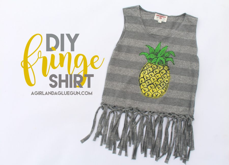 How to make a fringe tank top from a t-shirt. Includes instructions to paint the pineapple too!