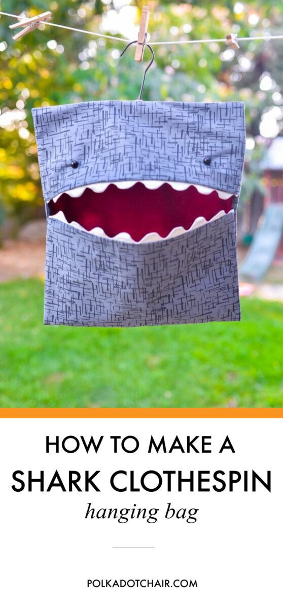 Shark Clothespin Bag Outside on Line