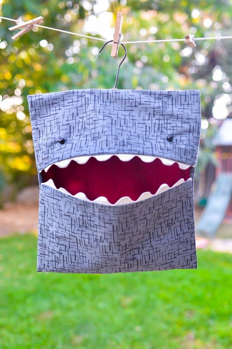 Diy Shark Clothespin Bag Sewing Pattern The Polka Dot Chair